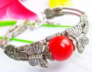 WHOLESALE RED JADE Tibetan Silver Bracelets