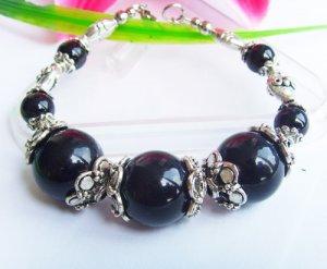 STUNNING STYLE Tibetan Silver Black Agate Bracelet