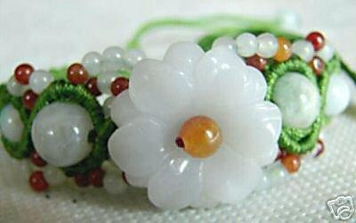 Delicate White Flower Shape Jade Bracelet