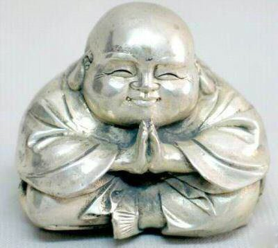 Tibet old silver happy buddha statue bless you