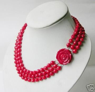 3 row Charming Chinese Genuine red coral necklace