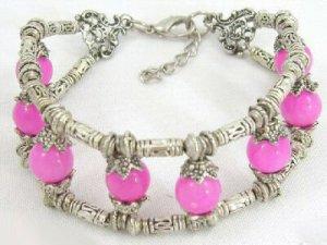 Charming tibet silver pink jade bracelet
