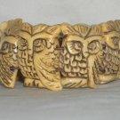 """RARE Bone carve """" owls """" bracelet"""