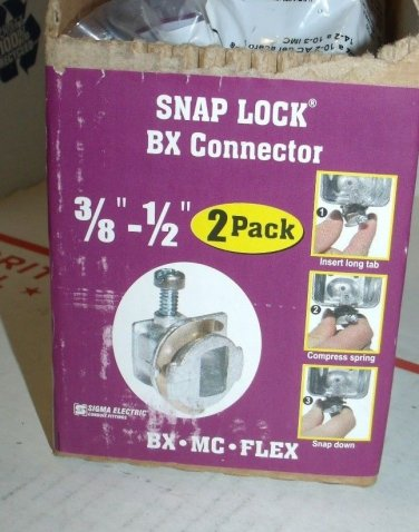 """LOT 1 pack of 2 Sigma Electric 45502 3/8 1/2"""" Inch Snap Lock BX Connector gampak"""