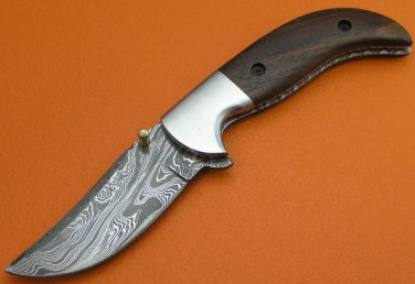 100% Handmade Damascus Steel Rose Wood Handle Liner Lock Folding Knife FS19C-1