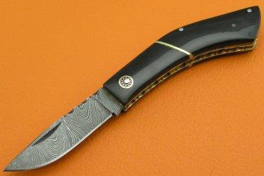 100% Handmade Damascus Steel Buffalo Handle Slip Joint Folding Knife FS465A-2