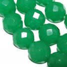 8mm Green Jade Faceted Round Gemstone Jewelry Beads 15""