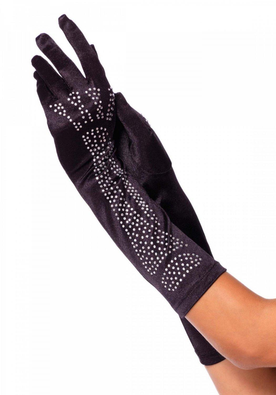 Rhinestone Bone Gloves