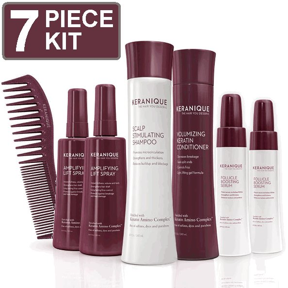 KERANIQUE 6 PIECE HAIRLOSS REGROWTH KIT ADVANCED HAIR CARE VOLUMIZING SHAMPOO CONDITIONER LIFT SPRAY