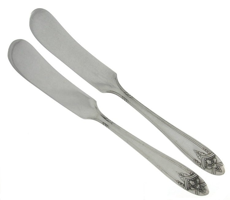 Wm Rogers Silverplate Butter Spreader La Ronnie 1945 Jelly Condiment Atomic Flatware Set 2