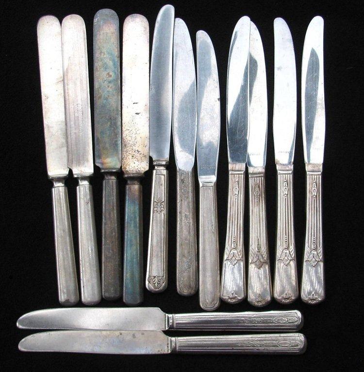 Dinner Knife Craft Lot 13 Silverplate Vintage Flatware Ornate Flower Altered Art