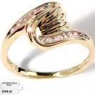 Genuine diamond twist design solid gold ring