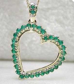 Emerald agate heart pendant