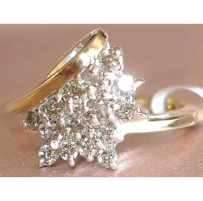 0.5 carat genuine diamond cluster ring
