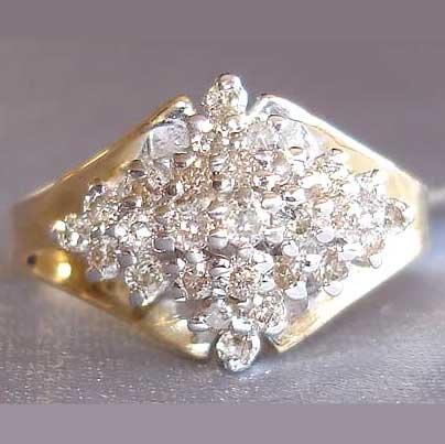 0.5 carat genuine diamond cluster ring