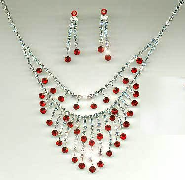 Stunning red and clear rhinestone crystal necklace & earring set