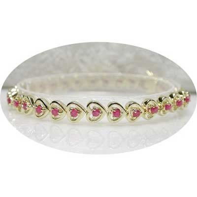 2.50 carat ruby gold hearts bracelet