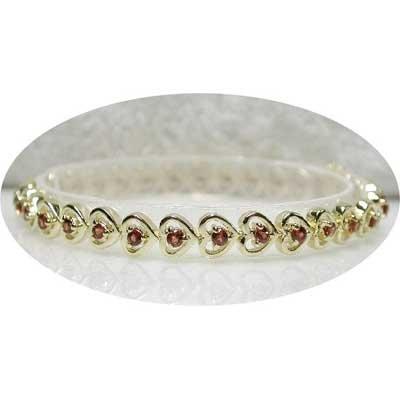2.30 carat garnet gold hearts bracelet
