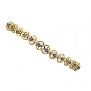 1.90 carat amethyst gold hearts bracelet