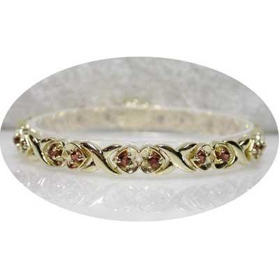 2.40 carat garnet gold hearts bracelet