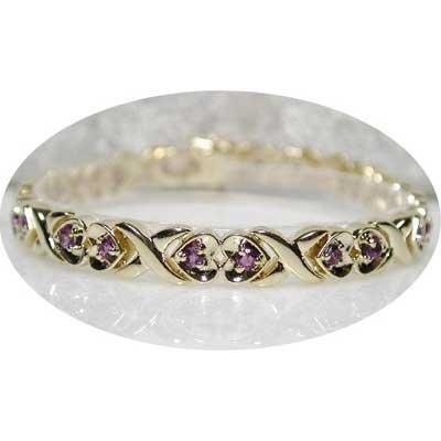 1.50 carat amethyst gold hearts bracelet