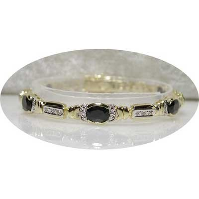Designer 10.11 carat SAPPHIRE & DIAMOND tennis bracelet