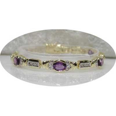 Designer 6.61 carats AMETHYST & DIAMOND tennis bracelet