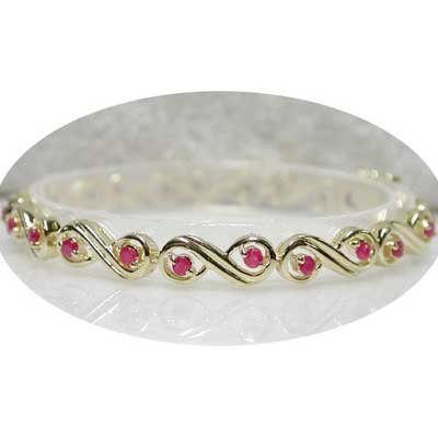 2 carat genuine Ruby gold eternity bracelet