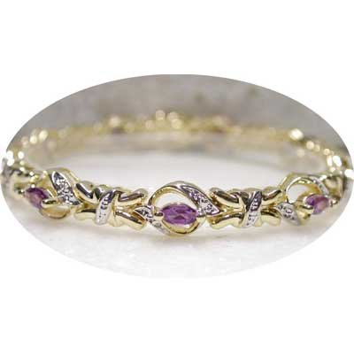 2.01 ctw Genuine Amethyst & Diamond bracelet