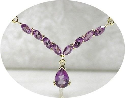4 carat genuine AMETHYST gold drop necklace