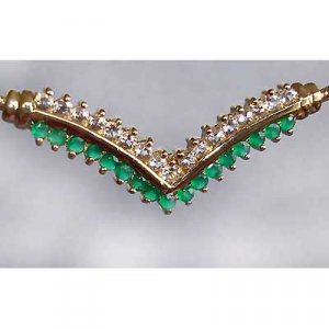 EMERALD AGATE and WHITE TOPAZ gold necklace