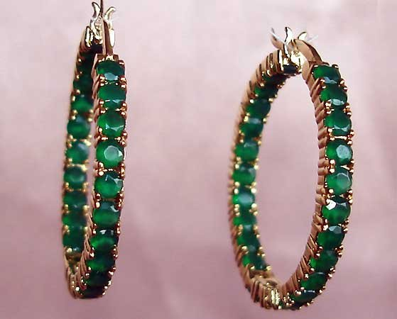 Amazing **5.80 carat** EMERALD AGATE gold hoop earrings