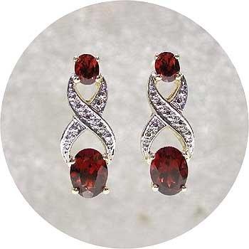 2 carat GARNET & DIAMOND gold earrings