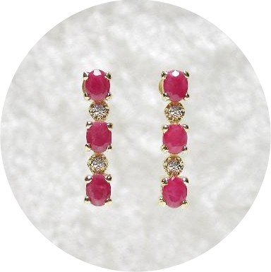2.53 carat Ruby & Diamond earrings