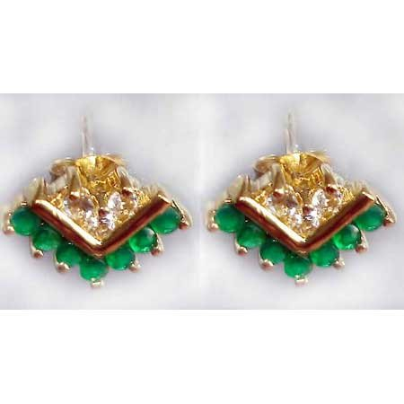 0.8 ctw Emerald Agate & White Topaz earrings