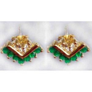 0.8 ctw Emerald Agate & White Topaz earrings