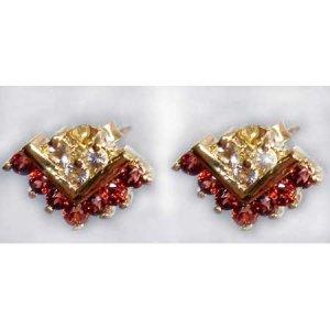 1.05 ctw Garnet & White Topaz earrings