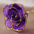 Purple Lacquered & 24k gold-plated rose with HEART stem