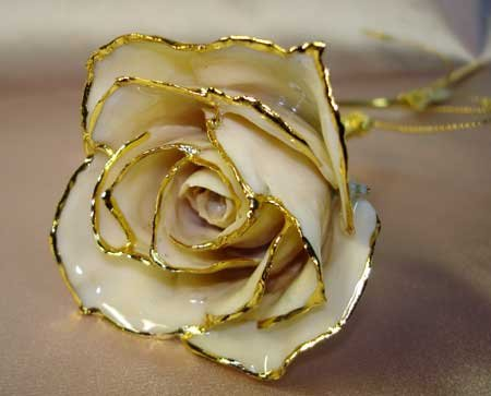 Lacquered & 24k gold-plated white rose with HEART stem