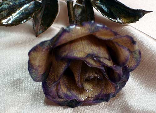 REAL Lacquered Purple ROSE with plated stem