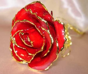 Lacquered & 24k gold-plated REAL RED ROSE
