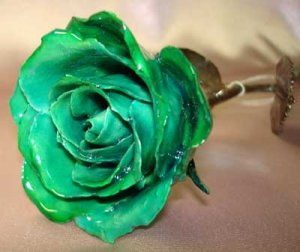 Unique real lacquered GREEN rose stem