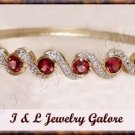 3.5ctw GENUINE GARNET gold bangle