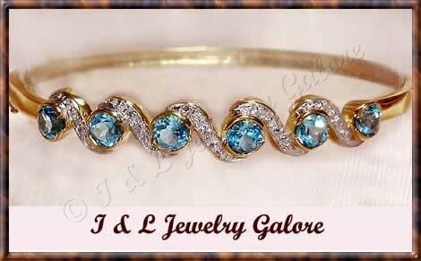 3.2ctw genuine BLUE TOPAZ gold bangle