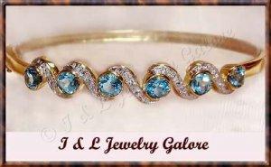 3.2ctw genuine BLUE TOPAZ gold bangle