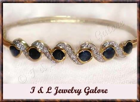 3.2ctw genuine SAPPHIRE gold bangle