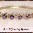 3.2ctw genuine AMETHYST gold bangle