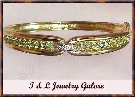 2.41 carat GENUINE Peridot & DIAMOND gold bangle