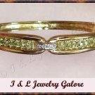 2.41 carat GENUINE Peridot & DIAMOND gold bangle