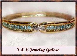 2.52 ctw Genuine TOPAZ & DIAMOND gold bangle